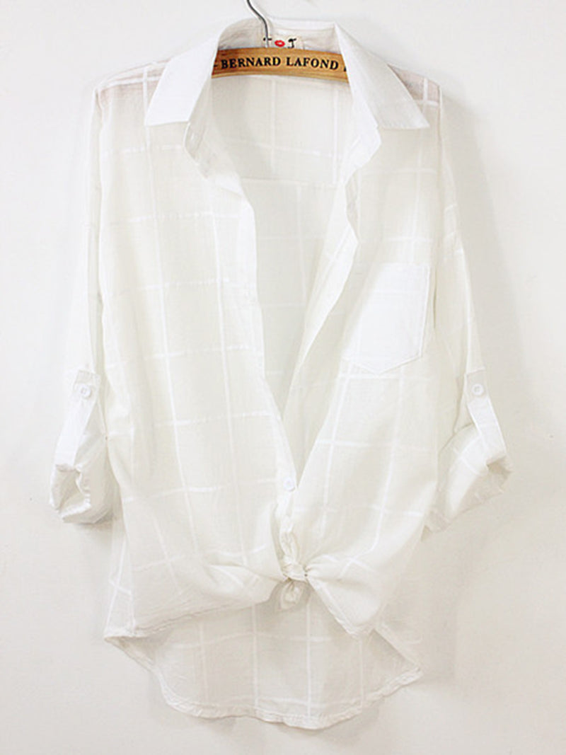 3/4 Sleeve Shawl Collar Blouses & Shirt