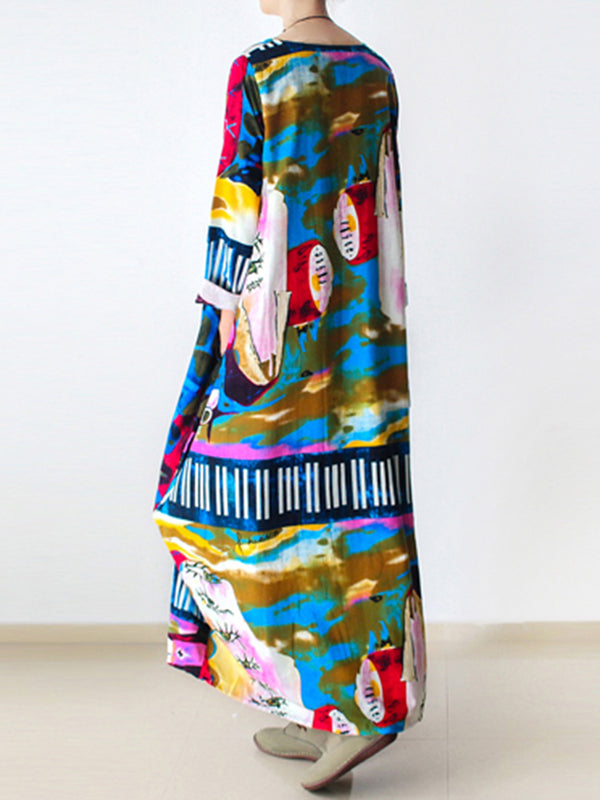 Printed Casual Linen 3/4 Sleeve Abstract Plus Size Dress