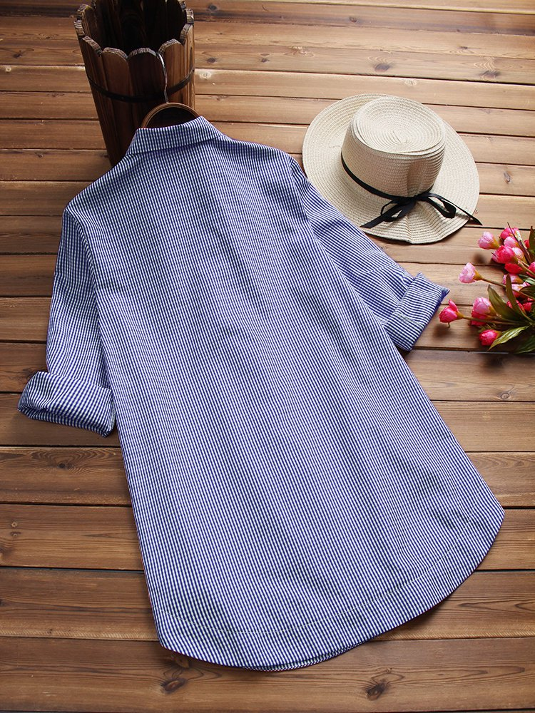 Simple Basic Polyester Buttoned Blouses &Shirt