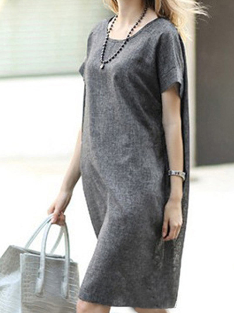 A-line Crew Neck Casual Solid Plus Size Dress