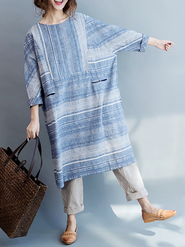 Blue Cotton Crew Neck Shift Stripe Casual Dress