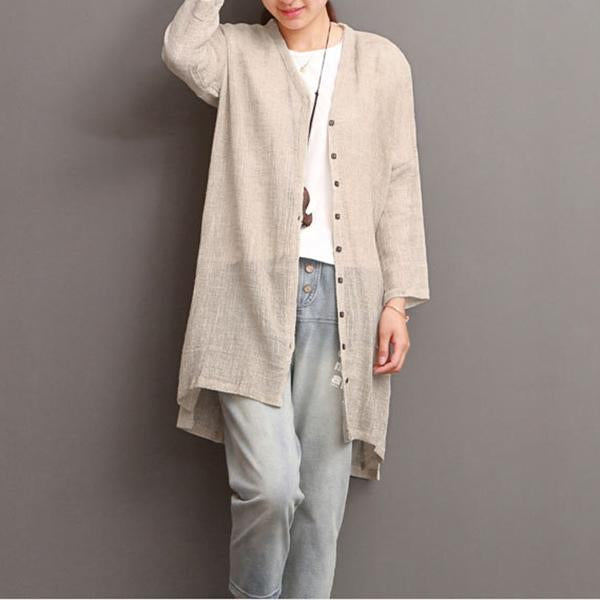 Casual Solid Cotton Cardigan