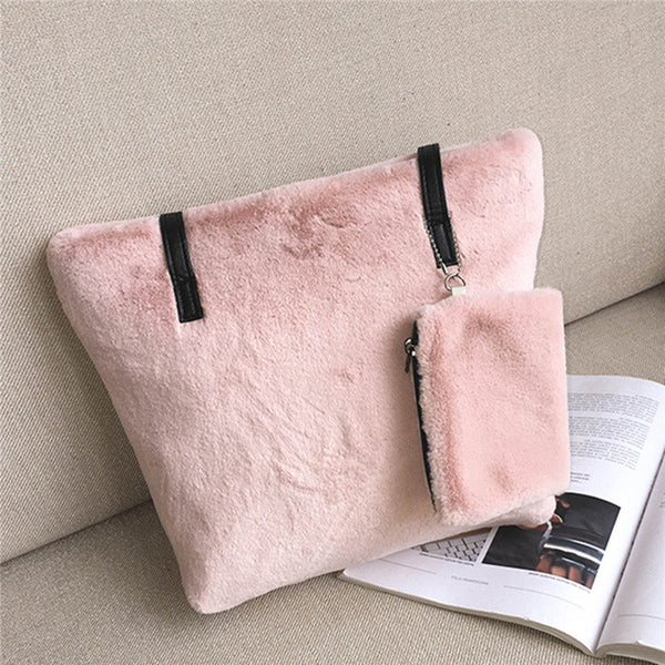 Women 2 Pce Cute Soft Plush Sweet Tote Bag Daily Handbag
