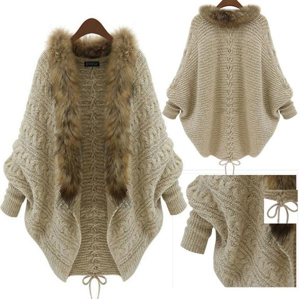 Autumn Winter Cardigan Loose Sweater Cloak Collar Bat Sweater & Coat