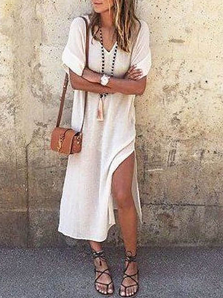 White Basic Paneled Cotton V Neck Casual Cotton Dress