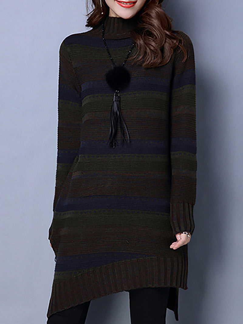 Knitted Paneled Casual Turtleneck Casual Dress