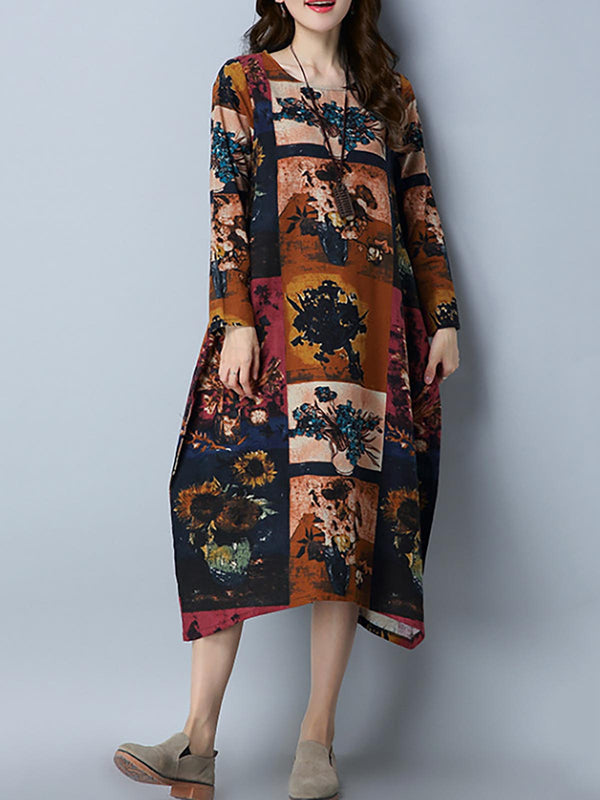 Printed Cocoon Basic Crew Neck Casual Dress
