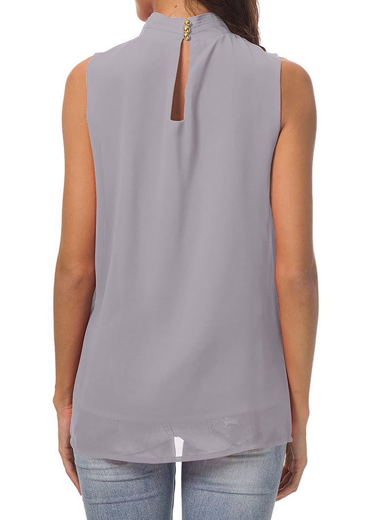 Stand Collar Sleeveless Casual Blouse