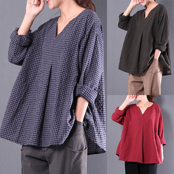 Red Folds Casual Folds Cotton Plus Size Blouses & Shirt
