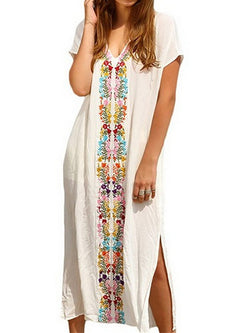 White Floral Polyester Shift Short Sleeve Beach Dress