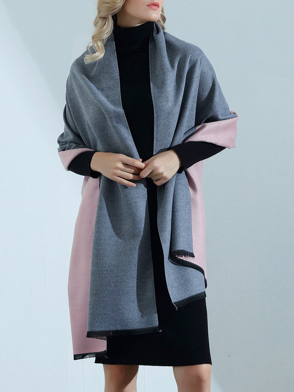 Reversible Solid Simple and Basic Poncho Scarf
