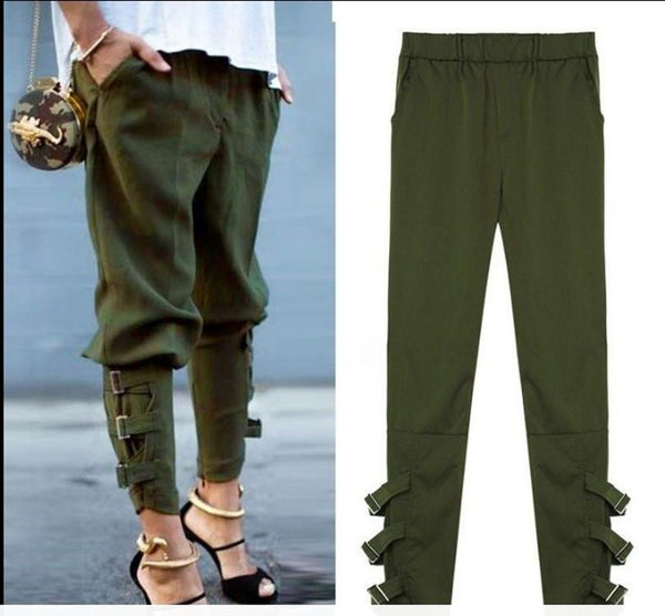 Women Trousers Casual Loose Pockets Elastic Waist Pants