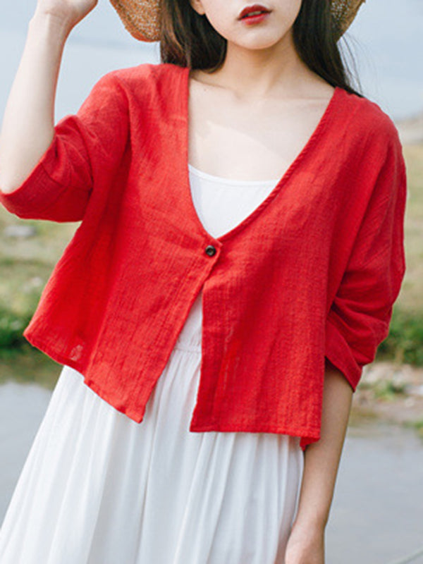 V Neck Casual Solid Long Sleeve Linen Coat