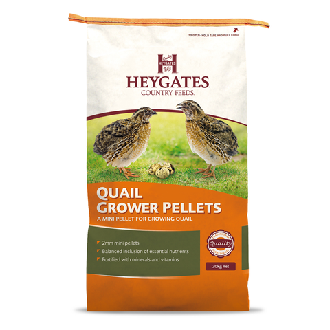 Image of a 20KG bag of Haygates Grower Quail feed from Avian Breeding