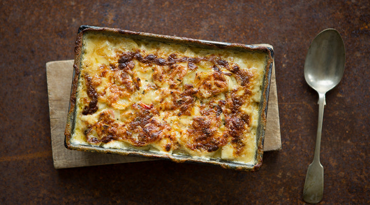 Cheddar, celeriac and potato dauphinois