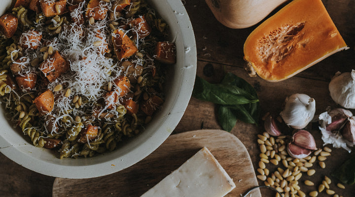 Comforting Roast Squash and Pesto Pasta