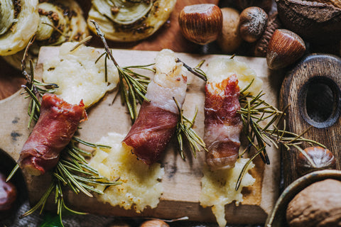 Smoked cheddar and rosemary bites cheese canapes Quicke's