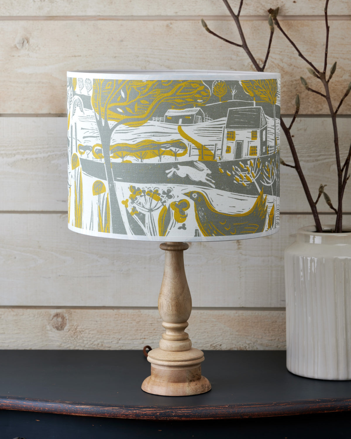 Running Hare in the Countryside Linen Lampshade