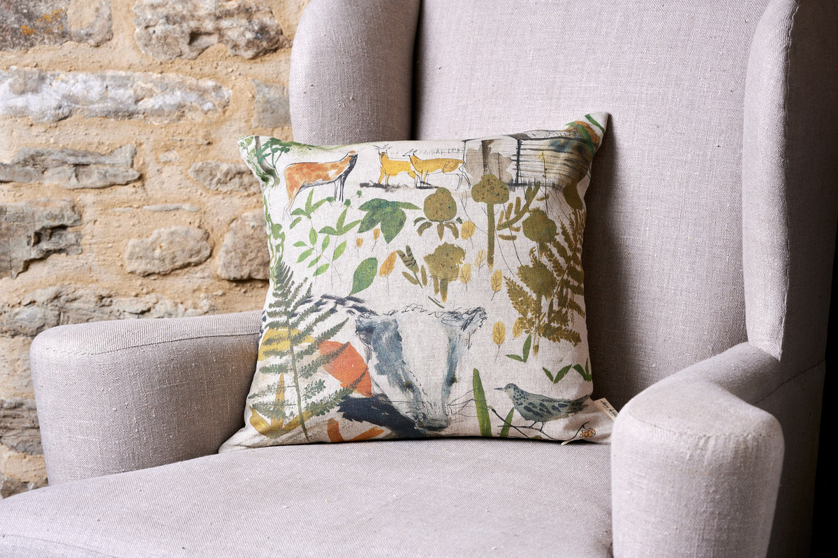 In the Woods Square linen cushion