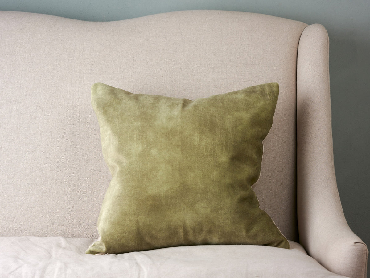 Sam Wilson Lovely Celery Velvet with Linen back Cushion