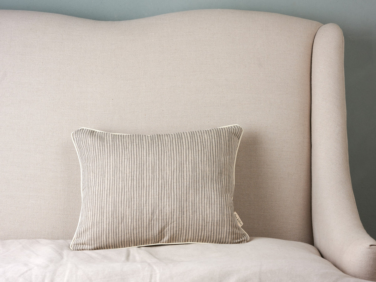 Sam Wilson Grey Stripe Rectangle Piped Linen Cushion