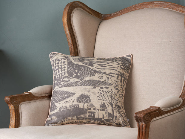 Sam Wilson Charcoal Through The Fields Square Piped Linen Cushion