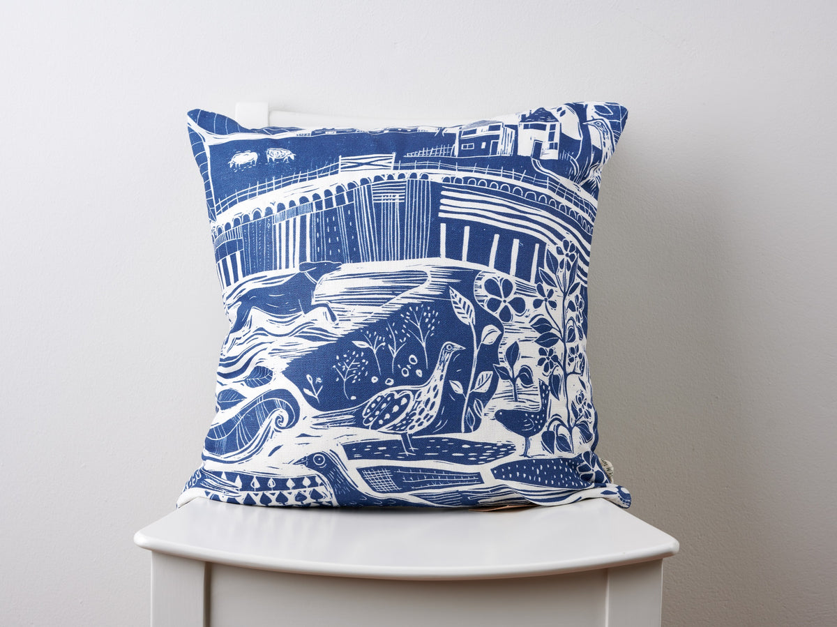 Through The Fields Navy Square Linen Cushion