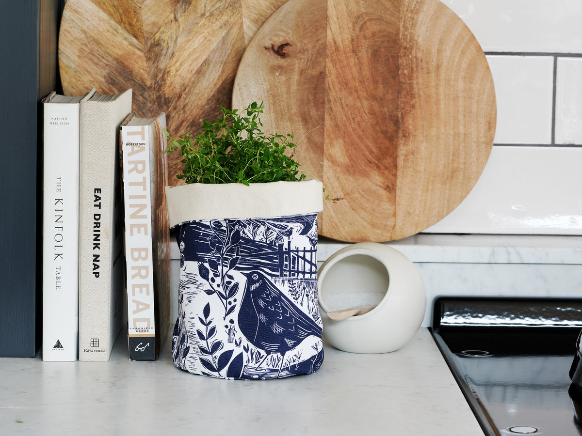 Sam Wilson Garden Bird Navy Pot Bag