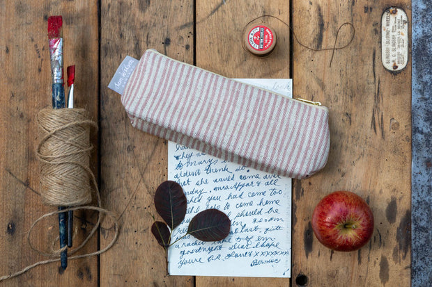 Pink Stripe Linen Pencil Case