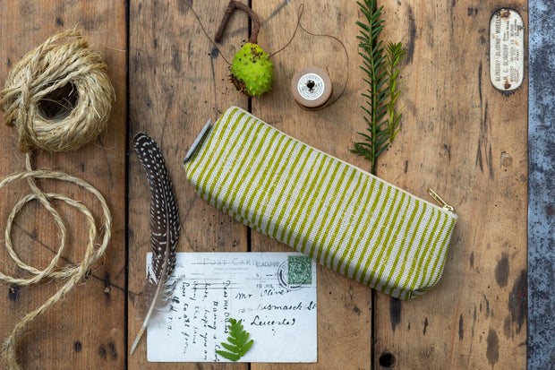 Sam Wilson Green Stripe Linen Pencil Case