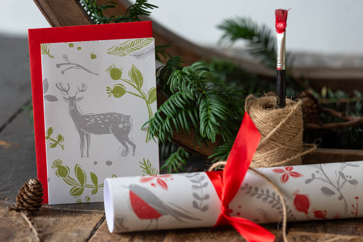 Robin & Reindeer Green Christmas Tea Towel