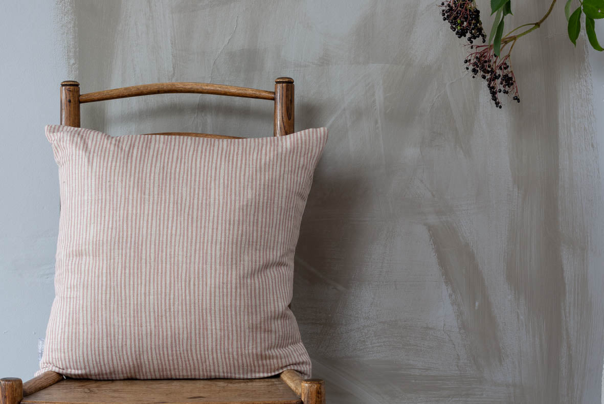 NEW Pink Stripe Square Linen Union Cushion
