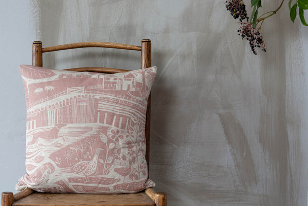 Through The Fields Square Linen Cushion - pink