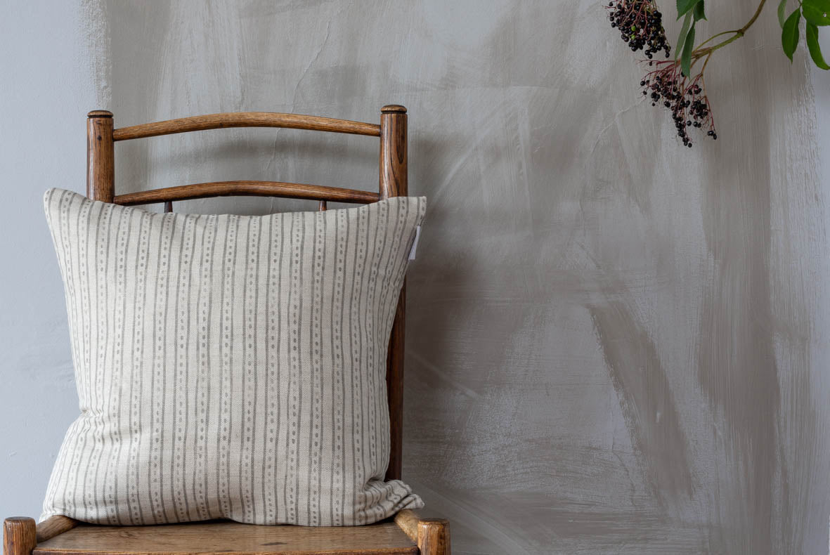 Sam Wilson NEW Grey Stripe / Dash  Square Linen Cushion