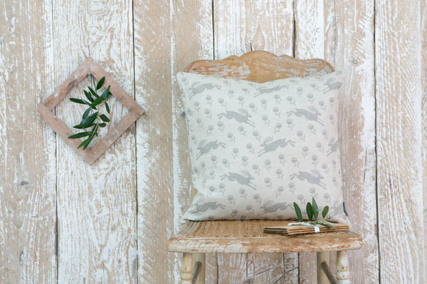Sam Wilson Running Hare Grey Pattern Linen Cushion