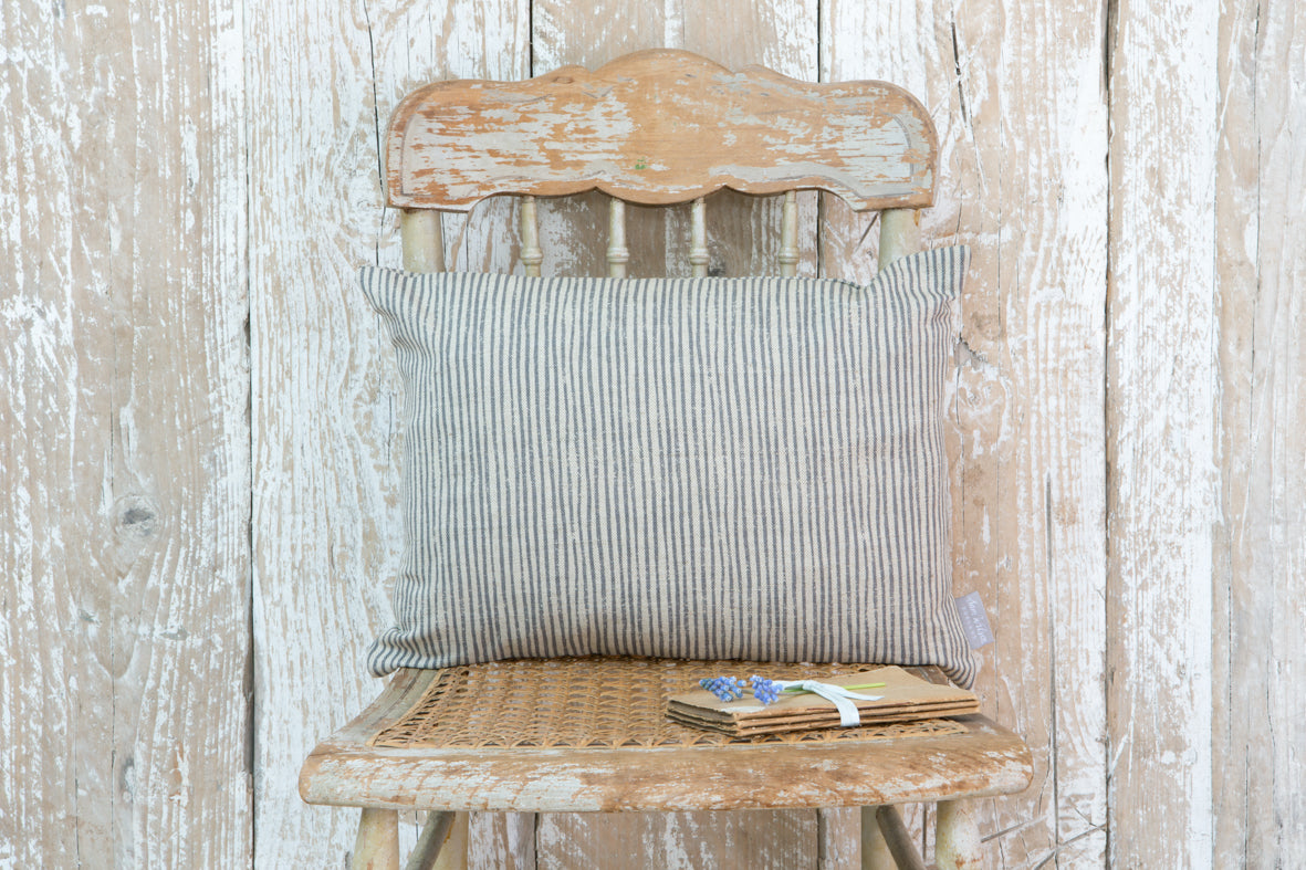 Grey Stripe Rectangle Linen Cushion