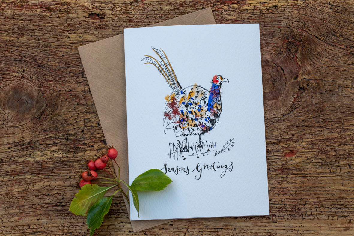 Common Pheasant Christmas Card
