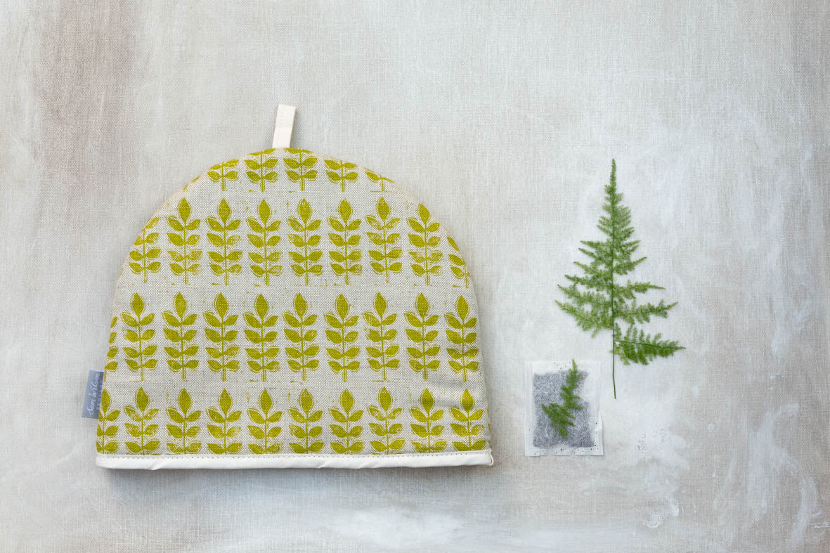 Sam Wilson Green Leaf Linen Look Cotton Tea Cosy