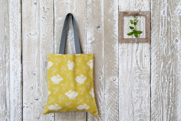 Headlong Hare Pattern Yellow/Grey Canvas Bag