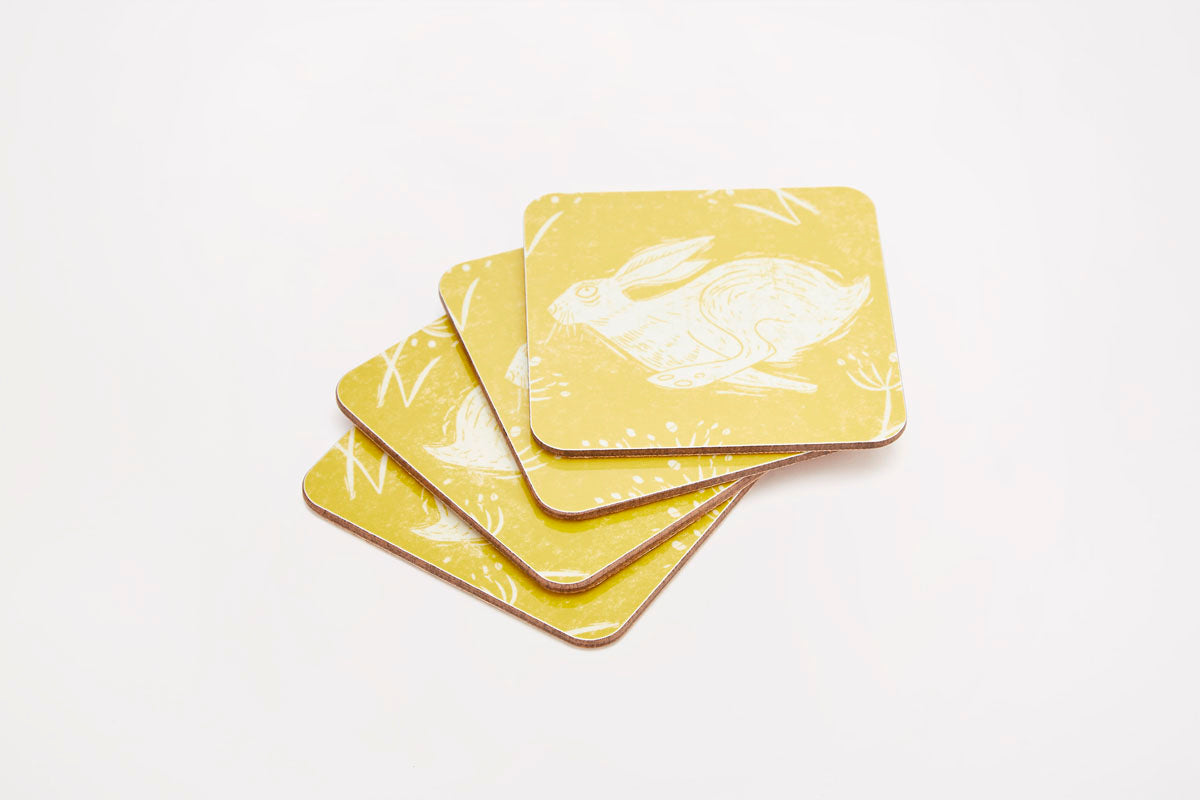 Headlong Hare Coasters - Set of 4
