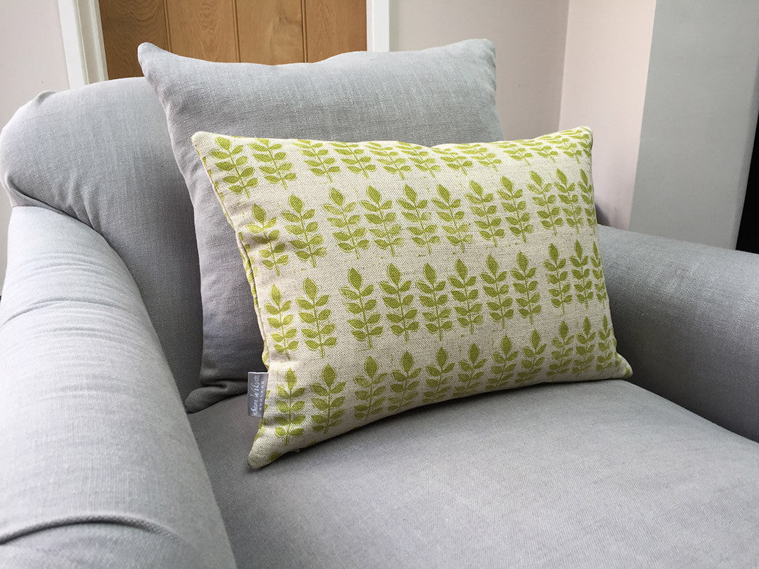 Green Leaf Print Rectangle Linen Cushion