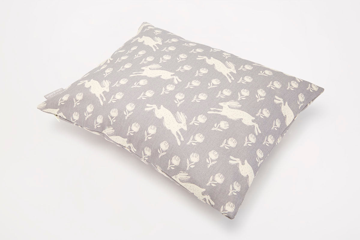 Sam Wilson Running Hare Pattern Grey Rectangle Cotton Cushion