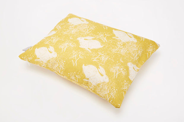 Headlong Hare Yellow Ochre Rectangle Cotton Cushion