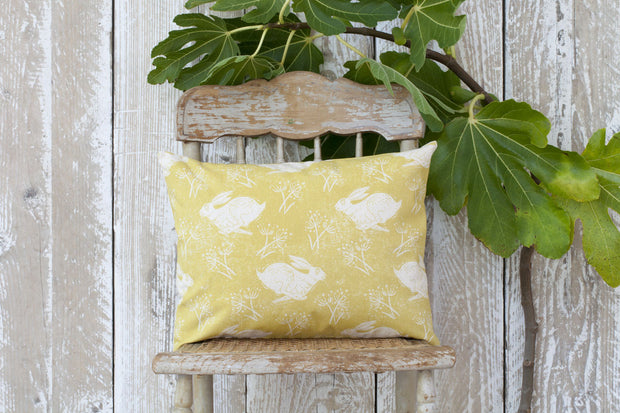Sam Wilson Headlong Hare Yellow Ochre Rectangle Cotton Cushion