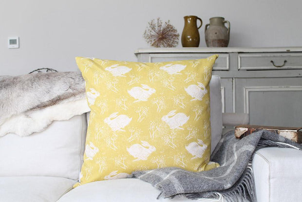 Sam Wilson Headlong Hare Yellow Ochre Large Cotton Cushion