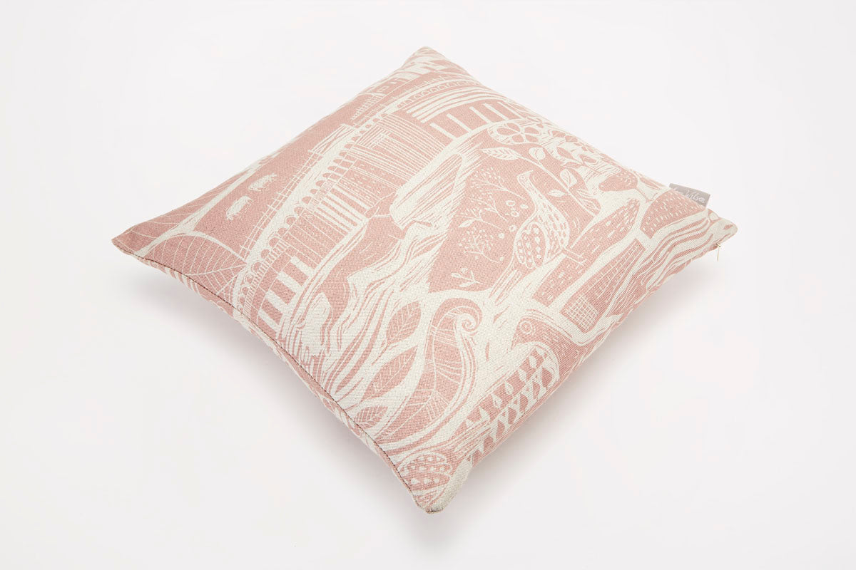 Sam Wilson Through The Fields Square Linen Cushion - pink
