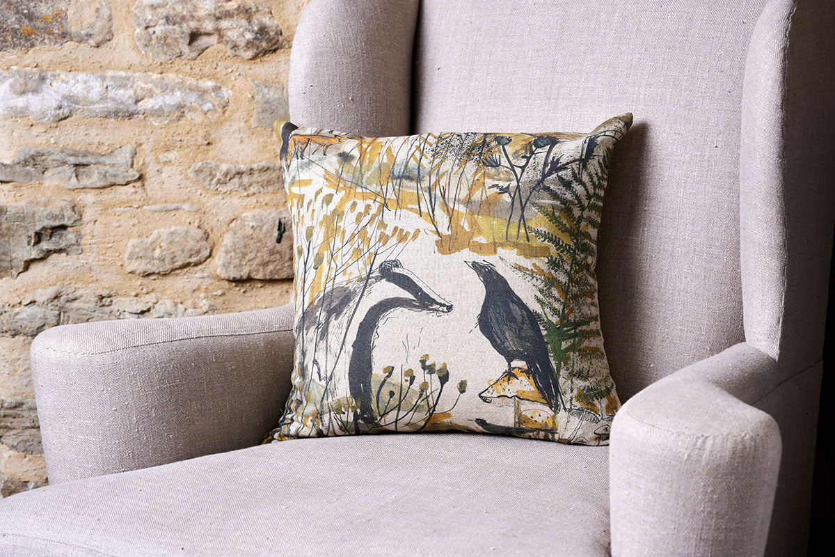 Badger and Crow Square Linen Cushion