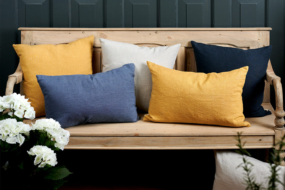 Sam Wilson Large Saffron Square Linen Cushion
