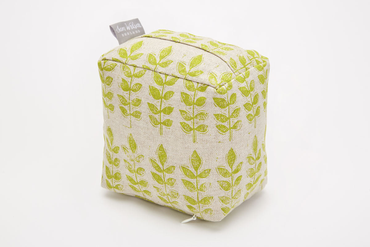 Sam Wilson Green Leaf fabric Doorstop