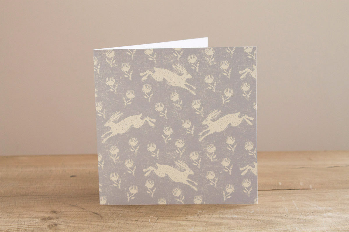 Running Hare Grey Greetings Card